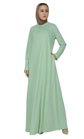 Asymmetrical And Pleated Long Casual Abaya Dress