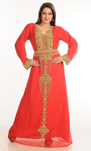 Georgette zari and stone work party wear abaya dress -Red-Final sale