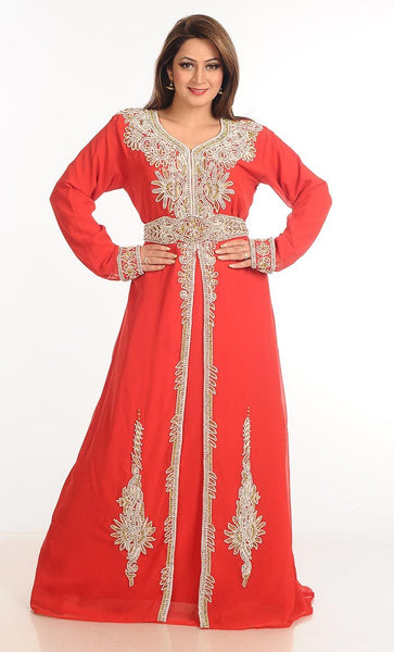Georgette hand embroidered and stone work party wear abaya dress -Ferrari-Final sale
