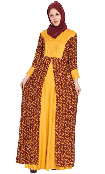 Dual Tone And Printed Double Layered Long everyday Abaya Dress