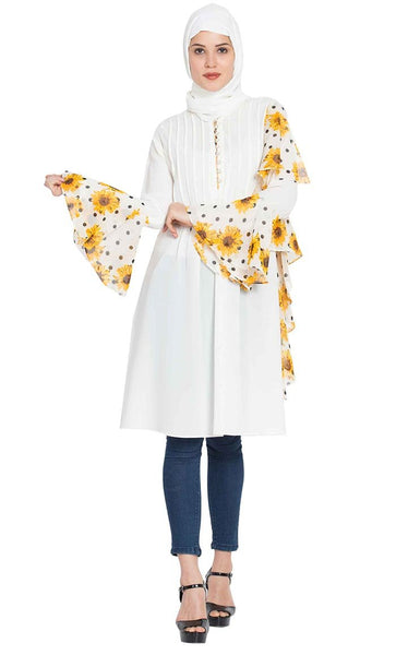 Designer Frilled Kurti with Floral Print-Off White-Final sale