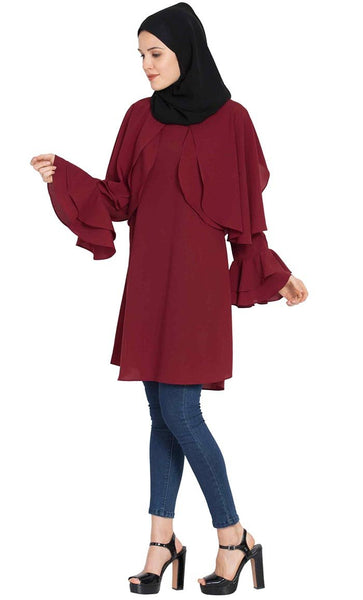 Modest-Designer Kurti-Maroon-Final sale