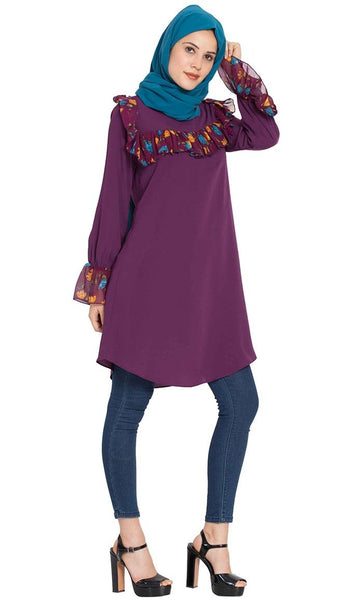 Designer Kurti with Contrast Ruffles and Bell Sleeves-Purple-Final sale