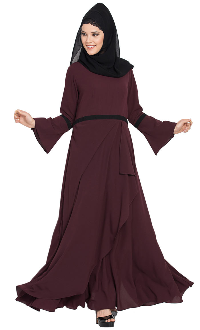 34897860217 Umbrella Cut Dress Abaya with Falling Panel and Bell Sleeves-Wine-Final sale