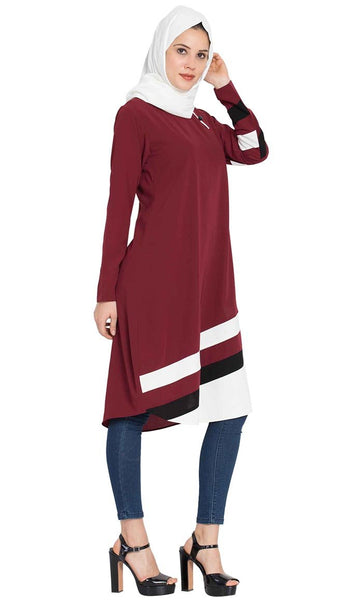 Designer Striped Kurti -Maroon-Final sale