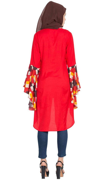 Giant Bell Sleeves Kurti-Red-Final sale