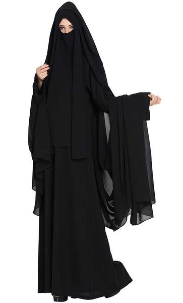 4 Piece Burqa Set- Black-Final sale