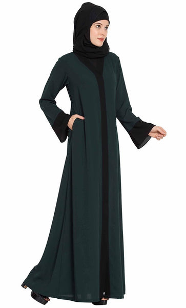 Front Open And Contrast Panels Abaya Dress