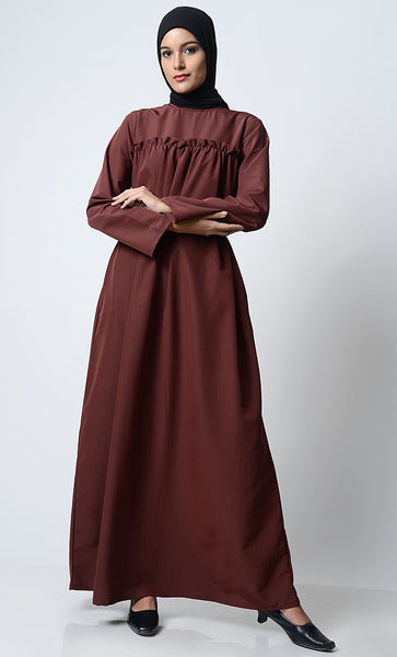 Classic Everyday Wear Abaya-Brown
