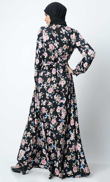 All Over Floral Printed Abaya