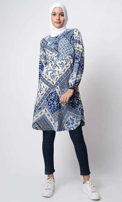 Square Mania Printed Tunic-Blue
