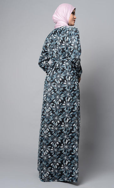 All over Floral Print Abaya Dress