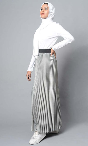 Modest Full Length Crinckled Skirt- Grey