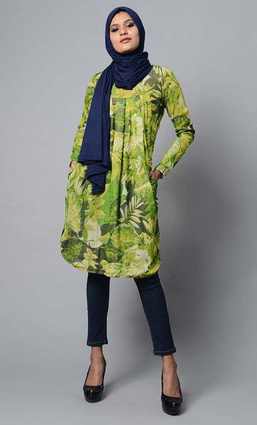 Leaf printed and pleated yoke beautiful knee length tunic