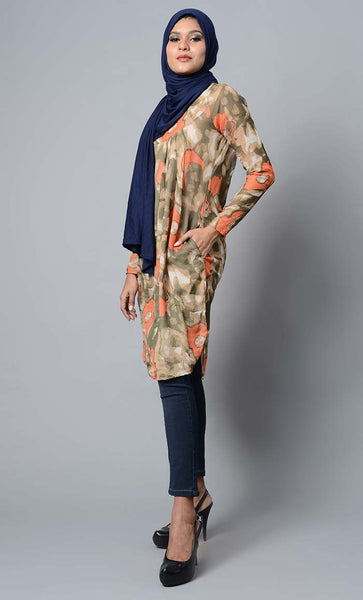 Flower printed and pleated yoke modest wear knee length tunic