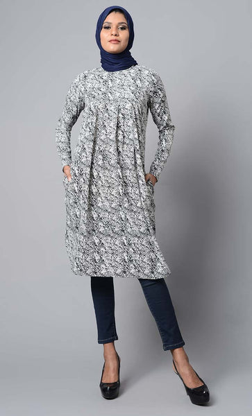 Floral garden printed and pleated yoke modest wear knee length tunic