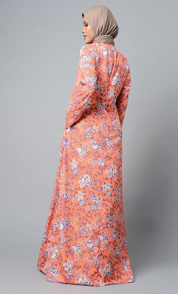 Peachy Accent Printed Abaya