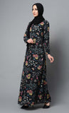 Flower printed modest wear pleated abaya dress