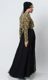 Golden Gleam Blinged Abaya-Black