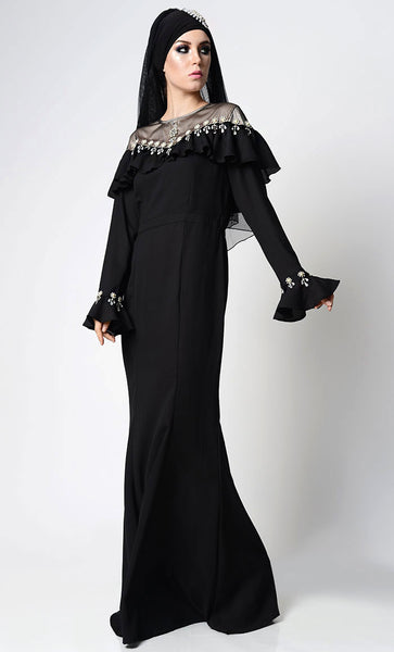 Elegant Beautful Embellished Black Abaya