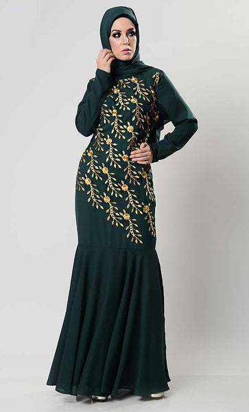 Enchanted Floral Embroidered Abaya Dress
