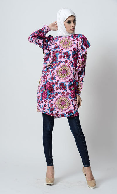 Floral Printed And Ruffled Tunic