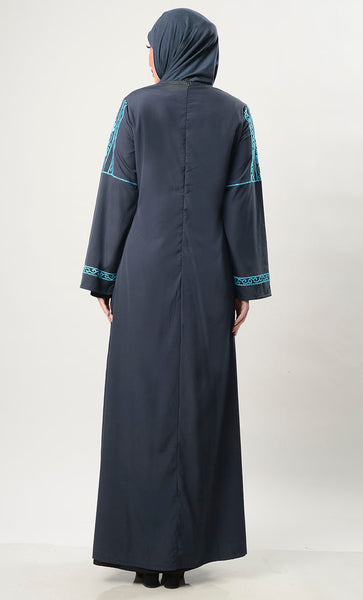 Sky Blue Embroiderey  Abaya With Pockets