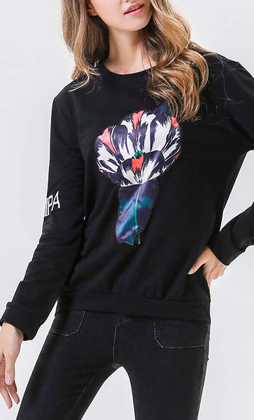 Tulip Digital Printed  Sweatshirt - Black - *Size Up*