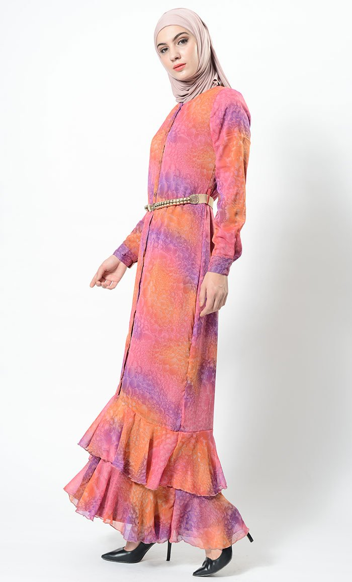 53011a8833c Eastessence presents Glow of bubble printed and frilled abaya dress ...