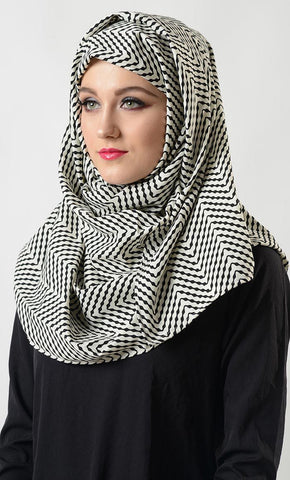 White black print hijab