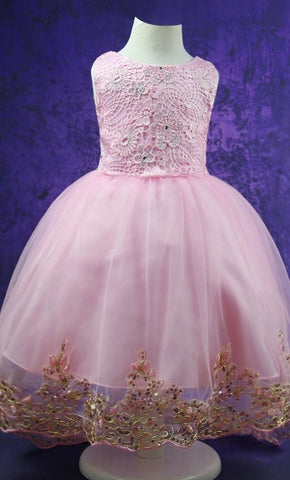 Adorable Princess Girl's Dress (Gold Pink)-*Special Sizing*
