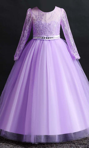 Beautiful Princess Girl's Dress (Purple)-*Special Sizing*