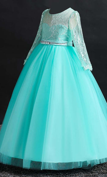 Beautiful Princess Girl's Dress (Green)-*Size Up*