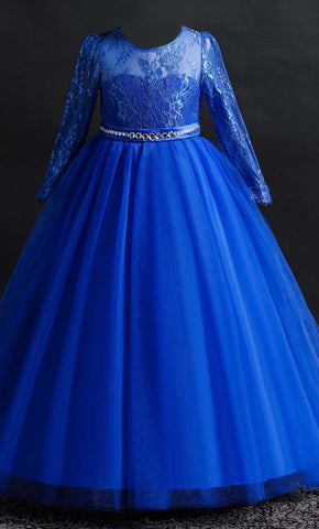 Beautiful Princess Girl's Dress (Blue)-*Special Sizing*