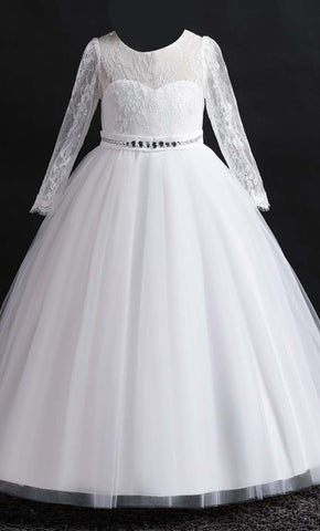 Beautiful Princess Girl's Dress (White)-*Special Sizing*