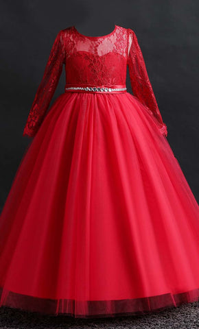Beautiful Princess Girl's Dress (Red)-*Special Sizing*