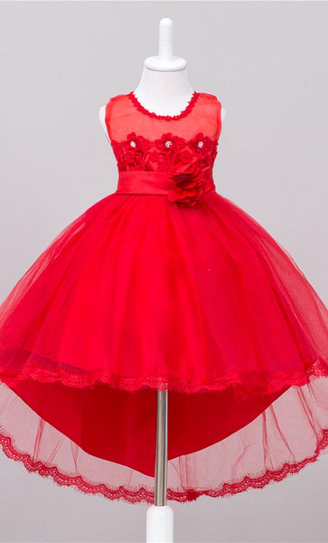 Adorable Floral Detailed Girl's Dress (Red)-*Size Up*