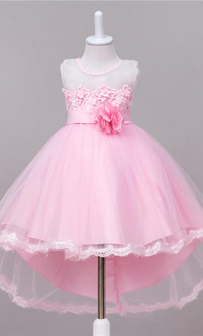 Adorable Floral Detailed Girl's Dress (Pink)-*Special Sizing*