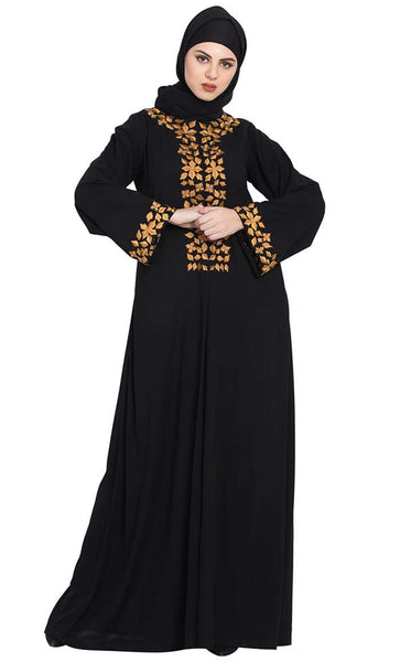 Golden Leaves-Embroidered Abaya-Black-Final sale