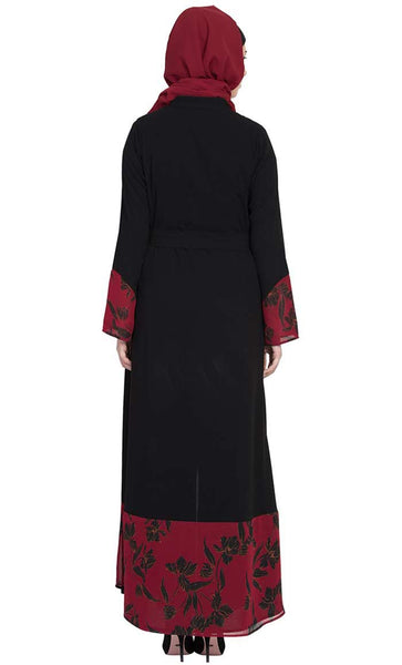 Front Open-Dress Abaya with Printed Georgette Panel-Black-Maroon-Final sale