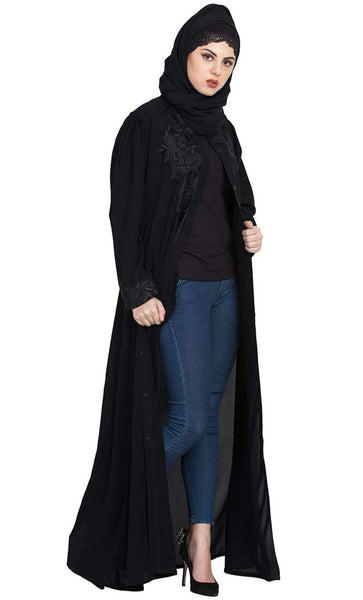 Gorgeous Black-Front Open Embroidered Abaya with Black Stones-Black-Final sale