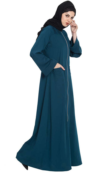 Long Zipper- Casual Abaya For Winters-Midnight Blue-Final sale