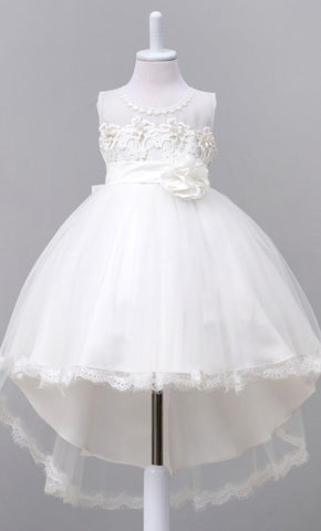 Adorable Floral Detailed Girl's Dress (White)-*Special Sizing*