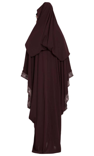 Arabian Style Designer Abaya with Attached Falling Head Cover on Back-Final Sale