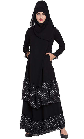 Black Abaya Dress with Contrast Polka Layers-Final sale