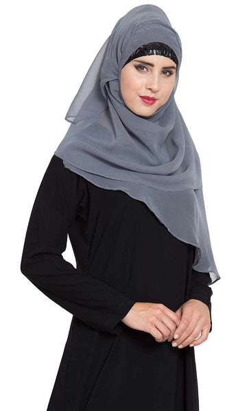 Ready to Wear-Instant Hijabs made in Super Fine Georgette-Grey - Final Sale