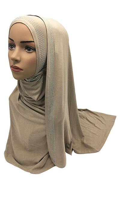 Rhinestones And Crystal Embellished Women'S Hijab Stole