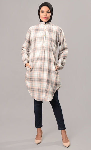 Button closure Formal shirt tunic-Final Sale