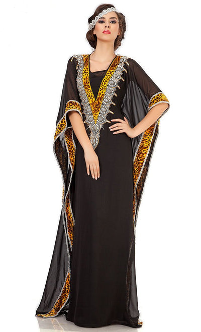 Graceful Black Embroidered Arabian Kaftan-Final Sale