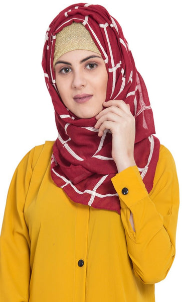 Designer Grid Hijab - Fabric 100 % Pure Cotton - Maroon